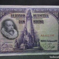 Billetes españoles: 100 PESETAS 15 DE AGOSTO 1928 SERIE A EBC MAS. Lote 67431385