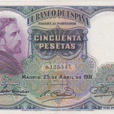 Billetes españoles: BILLETES ESPAÑOLES-II REPUBLICA 50 PESETAS 1931 (SIN SERIE) (EBC). Lote 67436113