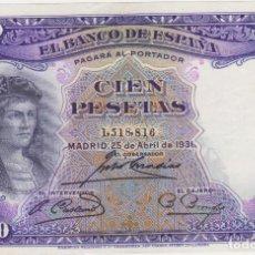 Billetes españoles: BILLETES ESPAÑOLES-II REPUBLICA 100 PESETAS 1931 (SIN SERIE) (EBC). Lote 67437229