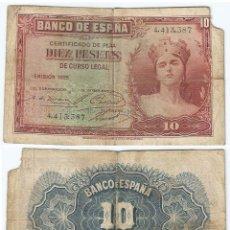 Billetes españoles: ESPAÑA - SPAIN 10 PESETAS 1935 PK 86 A.1 SIN SERIE. Lote 54889098