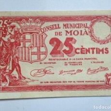 Billetes españoles: BILLETE 25 CÉNTIMOS 1936-39. MOIÁ BARCELONA CATALUÑA REPÚBLICA ESPAÑOLA GUERRA CIVIL SIN SERIE SC. Lote 68149461