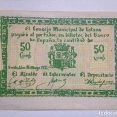 Billetes españoles: BILLETE 50 CÉNTIMOS 1937. TOTANA, MURCIA. REPÚBLICA ESPAÑOLA. GUERRA CIVIL. SIN SERIE. SIN CIRCULAR.. Lote 68241657