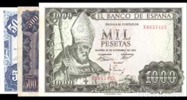 LOTE DE 3 BILLETES 500 Y 1000 DE 1951/1954/1965 REF 754 (Numismática - Notafilia - Billetes Españoles)