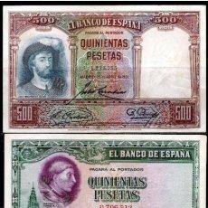 Billetes españoles: LOTE DE 2 BILLETES DE 500 PESETAS 1928 Y 1931 REF 7435. Lote 133172682