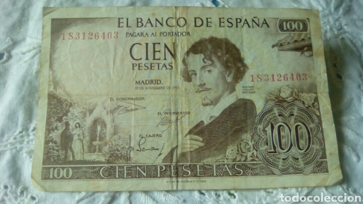 100 PESETAS GUSTAVO ADOLFO BECQUER--19 NOVIEMBRE 1965--SERIE 1 S 3126403---CIRCULADO (Numismática - Notafilia - Billetes Españoles)