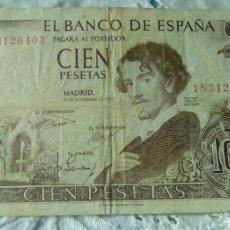 Billetes españoles: 100 PESETAS GUSTAVO ADOLFO BECQUER--19 NOVIEMBRE 1965--SERIE 1 S 3126403---CIRCULADO. Lote 68979927