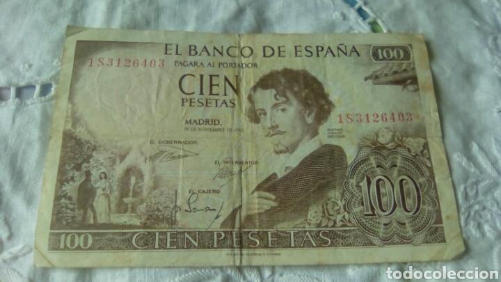 Billetes españoles: 100 PESETAS GUSTAVO ADOLFO BECQUER--19 Noviembre 1965--Serie 1 S 3126403---Circulado - Foto 3 - 68979927