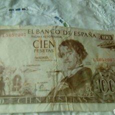 Billetes españoles: 100 PESETAS GUSTAVO ADOLFO BECQUER --19 NOVIEMBRE 1965--SERIE L 5052007--ROTO. Lote 68980282