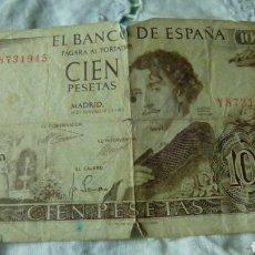 Billetes españoles: 100 PESETAS DE GUSTAVO ADOLFO BECKER 19 NOVIEMBRE 1965---SERIE Y 8731945--CON ROTO. Lote 68982653