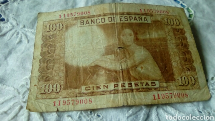 Billetes españoles: 100 PESETAS JULIO ROMERO DE TORRE--7ABRIL 1953--Serie 1 I9579008--von rotura - Foto 2 - 68983503
