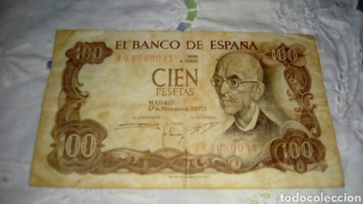Billetes españoles: 100PESETAS MANUEL DE FALLA- 17 Noviembre 1970-Con Defecto VERDE por el reverso-Serie 1Q 4080041 - Foto 3 - 68990741