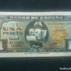 Billetes españoles: BILLETE UNA PESETA, MADRID 4 DE SEPTIEMBRE DE 1940, SIN SERIE, Nº 0008457. Lote 129176443