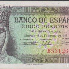 Billetes españoles: BILLETES ESPAÑOLES-ESTADO ESPAÑOL 5 PESETAS 1943 (SERIE B) (SC-). Lote 69311725