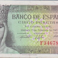 Billetes españoles: BILLETES ESPAÑOLES-ESTADO ESPAÑOL 5 PESETAS 1943 (SERIE F) (SC-). Lote 69311865