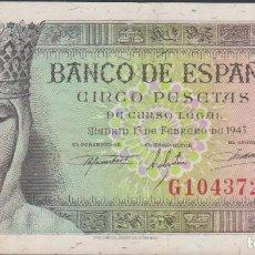 Billetes españoles: BILLETES ESPAÑOLES-ESTADO ESPAÑOL 5 PESETAS 1943 (SERIE G) (MBC+). Lote 69311889