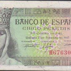 Billetes españoles: BILLETES ESPAÑOLES-ESTADO ESPAÑOL 5 PESETAS 1943 (SERIE H) (EBC). Lote 69311905
