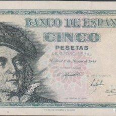 Billetes españoles: BILLETES ESPAÑOLES-ESTADO ESPAÑOL 5 PESETAS 1948 (SERIE A) (EBC). Lote 69312497