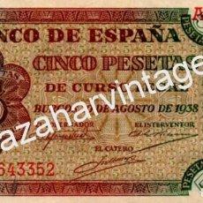 Billetes españoles: 5 PESETAS BURGOS 1938 SERIE A, EL DE LA FOTO. Lote 69986937