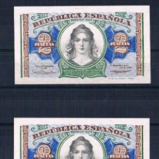 Billetes españoles: PAREJA CORRELATIVA DE 2 PESETAS 1938 SERIE-B PLANCHA. Lote 70030745