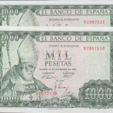 Billetes españoles: BILLETES ESPAÑOLES-ESTADO ESPAÑOL 1000 PESETAS 1965 (SERIE N) PAREJA CORRELATIVA (SC). Lote 70241981