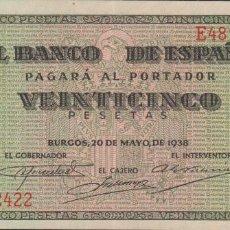 Billetes españoles: BILLETES ESPAÑOLES-ESTADO ESPAÑOL 25 PESETAS 1938 (SERIE E) (EBC). Lote 70259281
