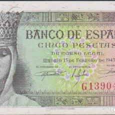 Billetes españoles: BILLETES ESPAÑOLES-ESTADO ESPAÑOL 5 PESETAS 1943 (SERIE G) (EBC+). Lote 70274849