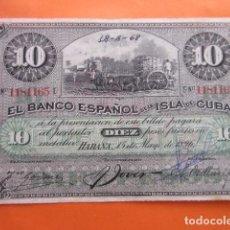 Billetes españoles: BILLETE BANCO ESPAÑOL DE LA ISLA DE CUBA 10 PESOS. Lote 70444913