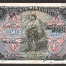 Billetes españoles: SMG 50 PESETAS 24 SEPTIEMBRE 1906 MBC SERIE B. Lote 43194482