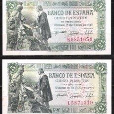 Billetes españoles: 2 BILLETES 5 PESETAS 1945 EBC. Lote 71586239