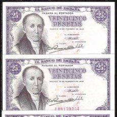 Billetes españoles: TRIO CORRELATIVO 25 PESETAS 1946 S/C. Lote 71586779