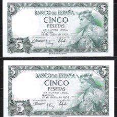 Billetes españoles: PAREJA CORRELATIVA 5 PESETAS 1954 SIN SERIE S/C. Lote 71590535