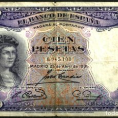 Billetes españoles: BILLETE DE 100 PESETAS DE 1931 (BC-) . Lote 72012643