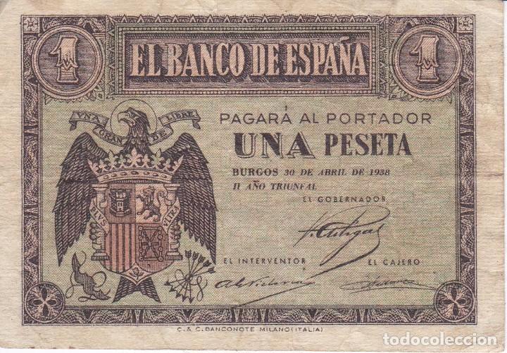 BILLETE DE BURGOS DE 1 PESETA DE ABRIL DEL 1938 DE LA SERIE H (Numismática - Notafilia - Billetes Españoles)