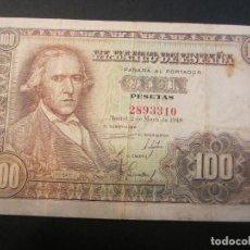 Billetes españoles: 100 PESETAS DE 1948 SIN SERIE-310 MUY BIEN CONSERVADO RARO. Lote 73050979