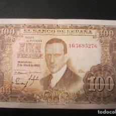 Billetes españoles: 100 PESETAS DE 1953 SERIE 1G-276 BIEN CONSERVADO. Lote 73051667