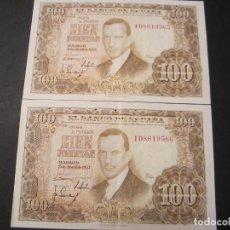 Billetes españoles: 100 PESETAS DE 1953 PAREJA CORRELATIVA SERIE 1D-565/566 COLOR CLARO. Lote 73052027