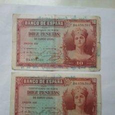 Billetes españoles: DOS BILLETES CORRELATIVOS DE 10 PESETAS. EMISIÓN 1935. Lote 73053521