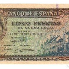 Billetes españoles: BILLETE ESPAÑA - 5 PESETAS 4 SEPTIEMBRE 1940 - MUY BUENA CONSERVACIÓN. Lote 73716527