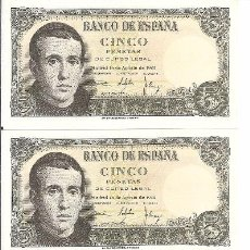 Billetes españoles: 5 - BILLETES DE 5 PESETAS - EMISION 16 AGOSTO 1951. Lote 75124971