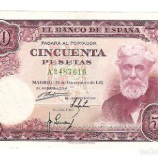 Billetes españoles: BILLETE. 50 PESETAS. 1951. SANTIAGO RUSIÑOL. SERIE A. Lote 75282467