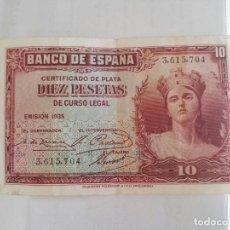 Billetes españoles: DIEZ PESETAS EMISION 1935 SIN SERIE MBC/EBC. Lote 75574059