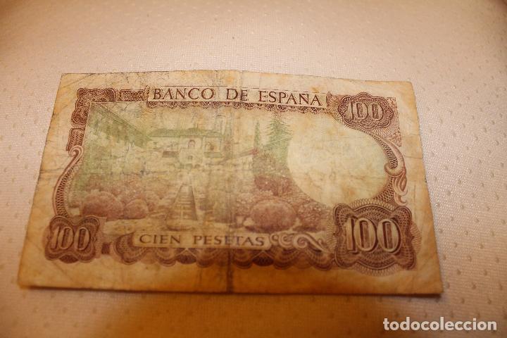 100PESETAS MANUEL DE FALLA- 17 NOVIEMBRE 1970-CON DEFECTO VERDE POR EL REVERSO-SERIE 1Q 4080041 (Numismática - Notafilia - Billetes Españoles)