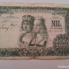 Billetes españoles: 1000 PESETAS 1957 REYES CATOLICOS SERIE 1H. Lote 76485663