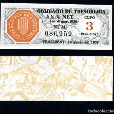 Billetes españoles: CATALUÑA BILLETE OBLIGACION DE 6,875 PESTAS AÑO 1936 SERIE 080959 (GUERRA CIVIL ESPAÑOLA)CUPO 3. Lote 76566867