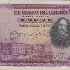 Billetes españoles: BILLETES ESPAÑOLES - ALFONSO XIII - 50 PESETAS 1928 SIN SERIE CON SELLO: ESTADO ESPAÑOL BURGOS (MBC). Lote 76586623