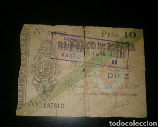 BILLETE DE 10 PESETAS DE 1936 BANCO DE ESPAÑA EN GIJON (Numismática - Notafilia - Billetes Españoles)