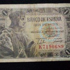 Billetes españoles: BILLETE 1 PESETA SUFRIDO ESTADO SERIE K MADRID 21 DE MAYO 1943. Lote 76725667