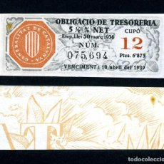Billetes españoles: CATALUÑA BILLETE OBLIGACION DE 6,875 PESTAS AÑO 1936 SERIE 075694 (GUERRA CIVIL ESPAÑOLA)CUPO 12. Lote 149869048