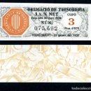 Billetes españoles: CATALUÑA BILLETE OBLIGACION DE 6,875 PESTAS AÑO 1936 SERIE 075692 (GUERRA CIVIL ESPAÑOLA)CUPO 3. Lote 162650533