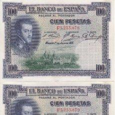 Billetes españoles: TRIO CORRELATIVO DE 100 PESETAS DEL AÑO 1925 SERIE F EN CALIDAD EBC+. Lote 77228013